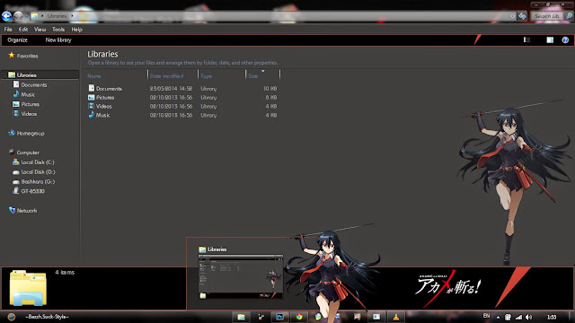 Akame ga Kill! Theme Win 7 by Bashkara