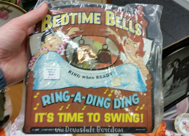 "Vintage ""novelty"" gag gift, haha!  Bedtime Bells - Ring When Ready! - Ring-a-Ding It's Time to Swing! - Funny, weird, bizarre, and hilarious -- I've seen lots of crazy things in Dallas TX, and I've got photos to prove it!  Explore a thrift store / antique shop with me, and see all the strange stuff formerly lurking in Texans' closets and attics!  via Devastate Boredom"