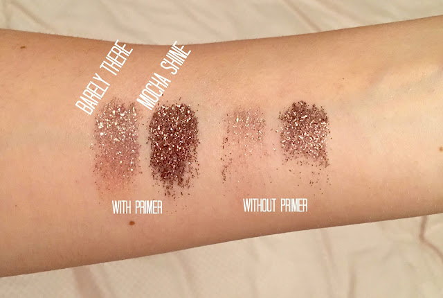 See swatches of Glitter Eyes pressed glitters
