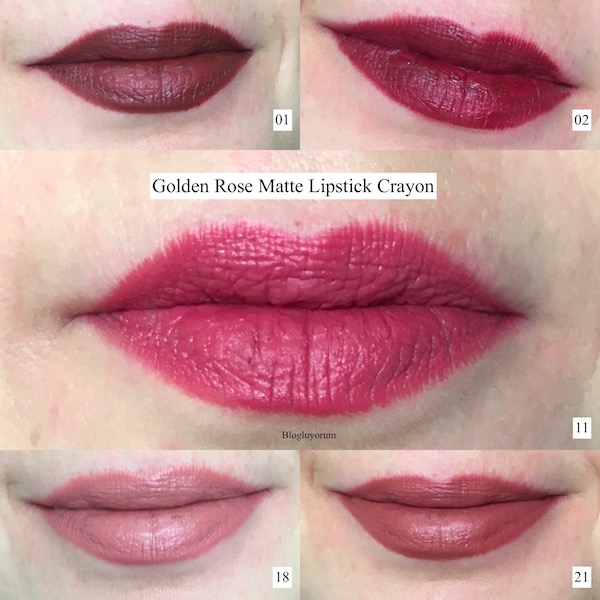 golden rose matte lipstick crayon swatch 01-02-11-18-21