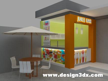 Jasa Interior Eksterior 3d Desain Booth Jus Stand Kecil Cafe