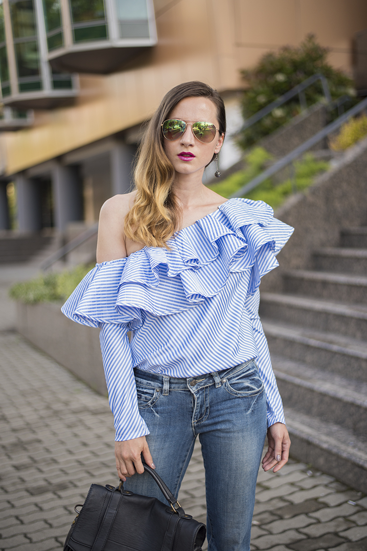 Skinny Buddha ruffled off shoulder top