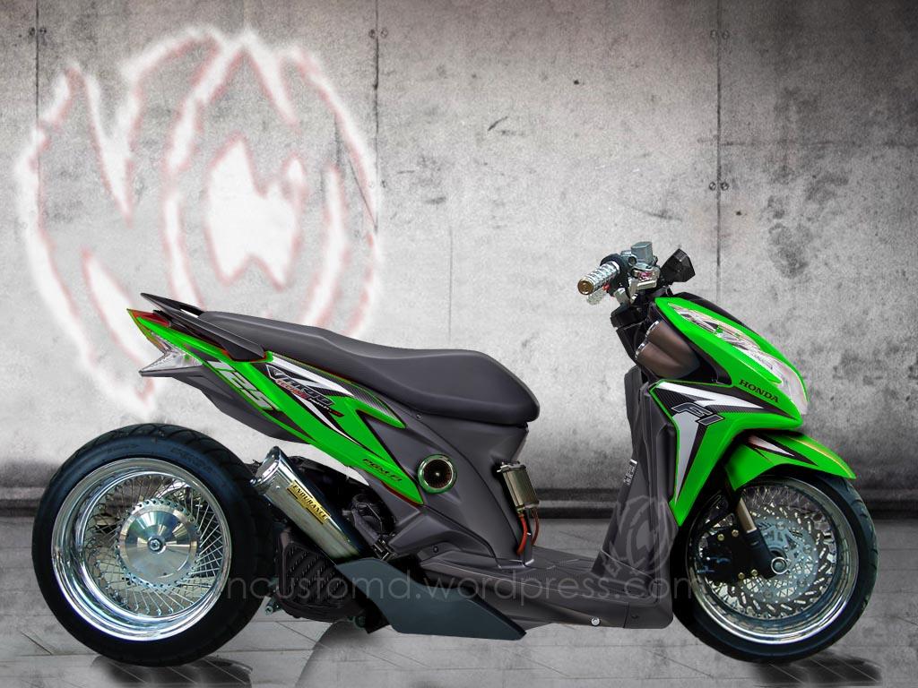 Koleksi Modifikasi Honda Vario Warna Hijau Lampak Modifikasi