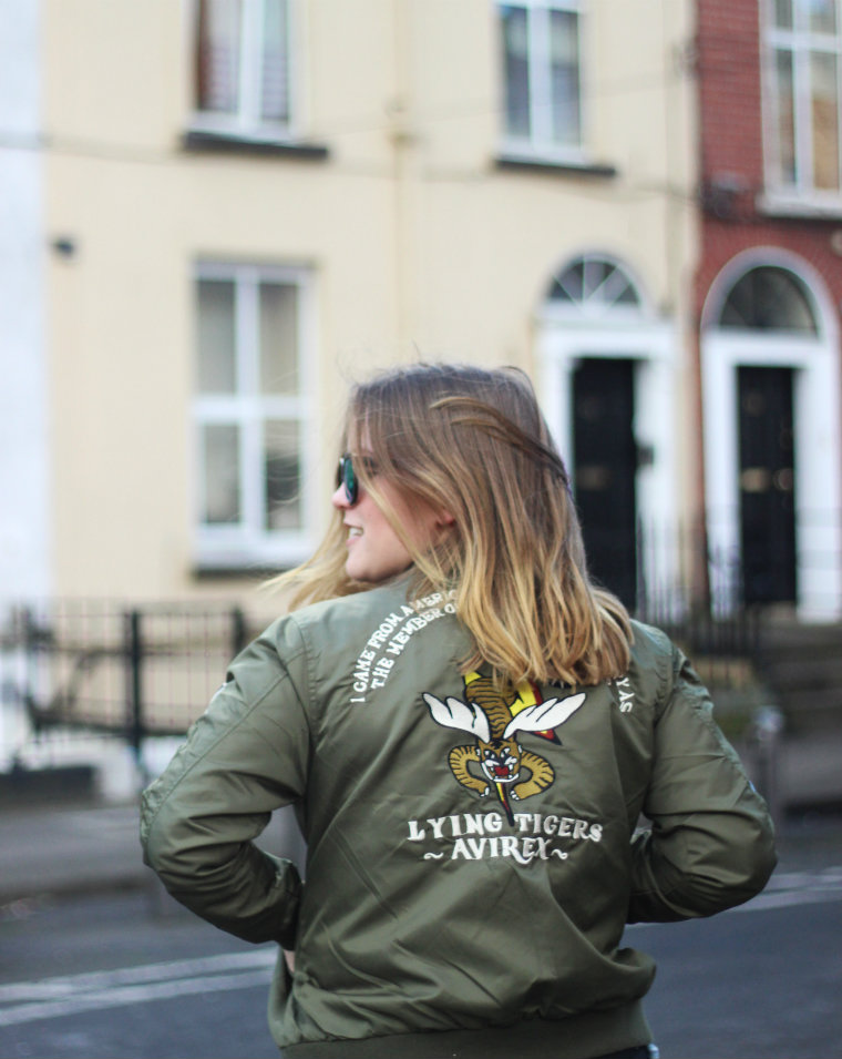 Bomber jacket, street style, Latest Lil, Irish Fashion Blog, Irish bloggers, fashion blog, patchwork bomber, army green, dublin street style, irish street style, grey nike orive run, black jamie jeans, denim shirt, outfit post, romwe, romwe embroidered bomber jacket, embroidered bomber jacket, topshop mirror sunglasses,