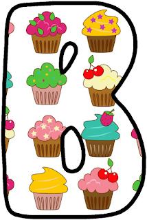 Abecedario con Cupcakes Grandes. Alphabet with Big Cupcakes.