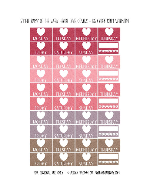 Free Printable Simple Days of the Week Heart Date Covers for the Vertical Carpe Diem Inserts Page 7 of 7 from myplannerenvy.com. Also available with a Circle instead of a Heart.