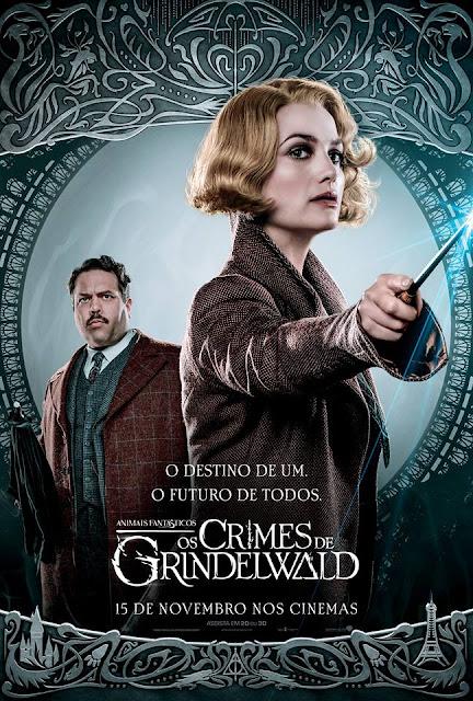 Os pôsteres nacionais dos personagens de 'Os Crimes de Grindelwald' | Queenie Goldstein e Jacob Kowalski | Ordem da Fênix Brasileira
