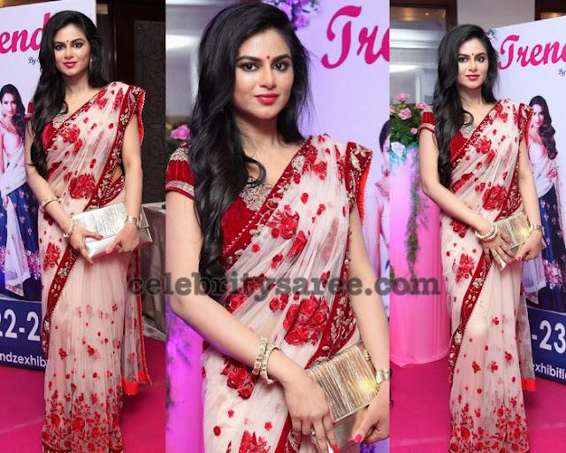 Shailaja Reddy Velvet Net Saree