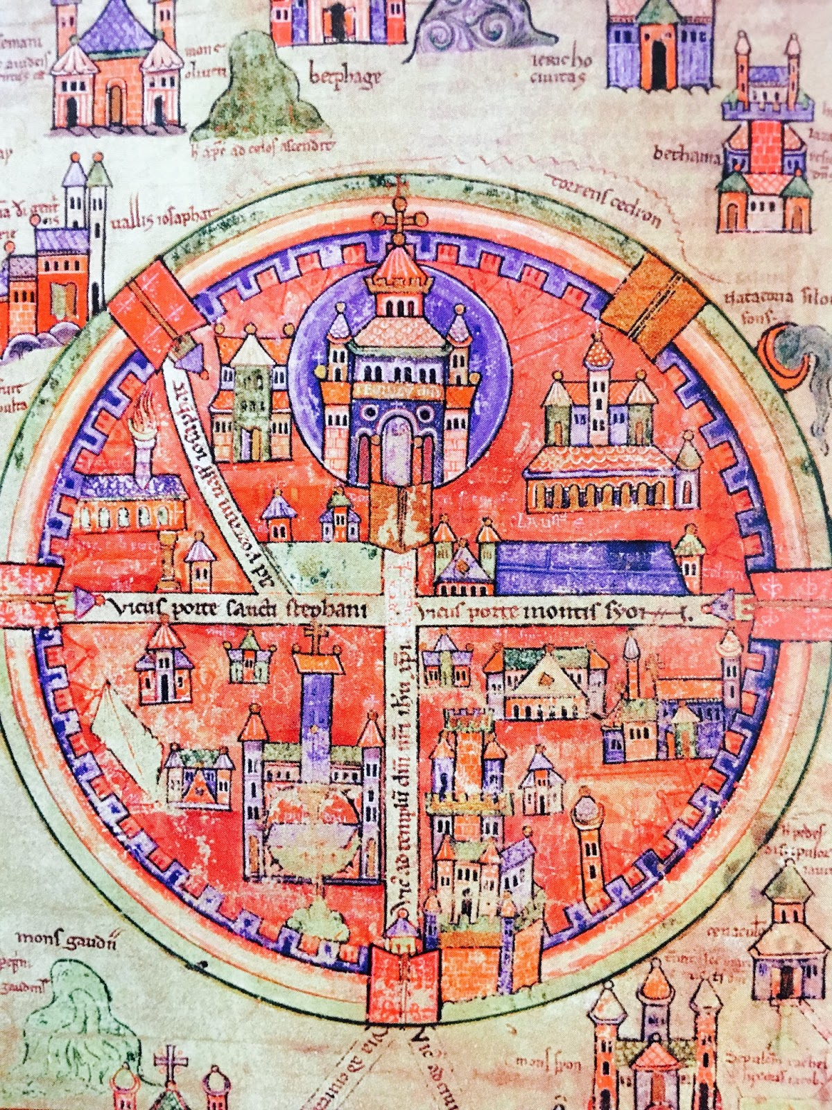 Orbis catholicus secundus pilgrims map of jerusalem pilgrims map of jerusalem notice the holy sepulchre is at the center gumiabroncs Choice Image