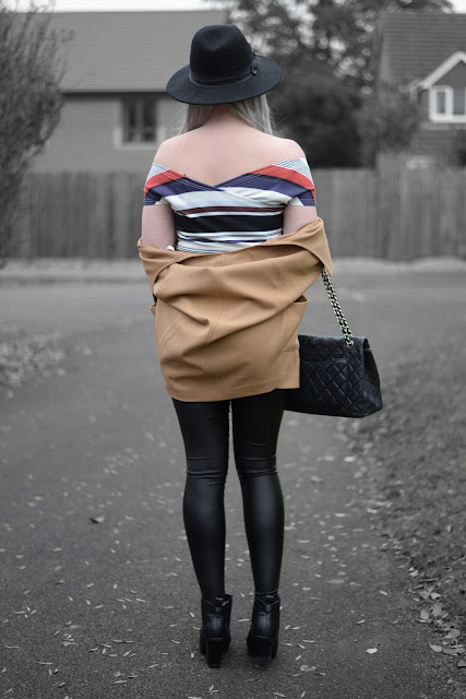 Sammi Jackson - Irisie Striped Crop Top, Stylewe Leggings, Vintage Chanel Bag, Primark Camel Coat, Topshop Alexy Boots