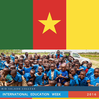 image of Cameroon flag and a photo of young Cameroon gradeschool students laughing.  Text: Rio Salado International Education Week 2016