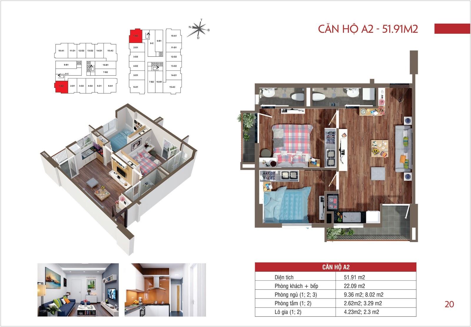Căn hộ A2 - 51,91m2 chung cư Lộc Ninh Singashine