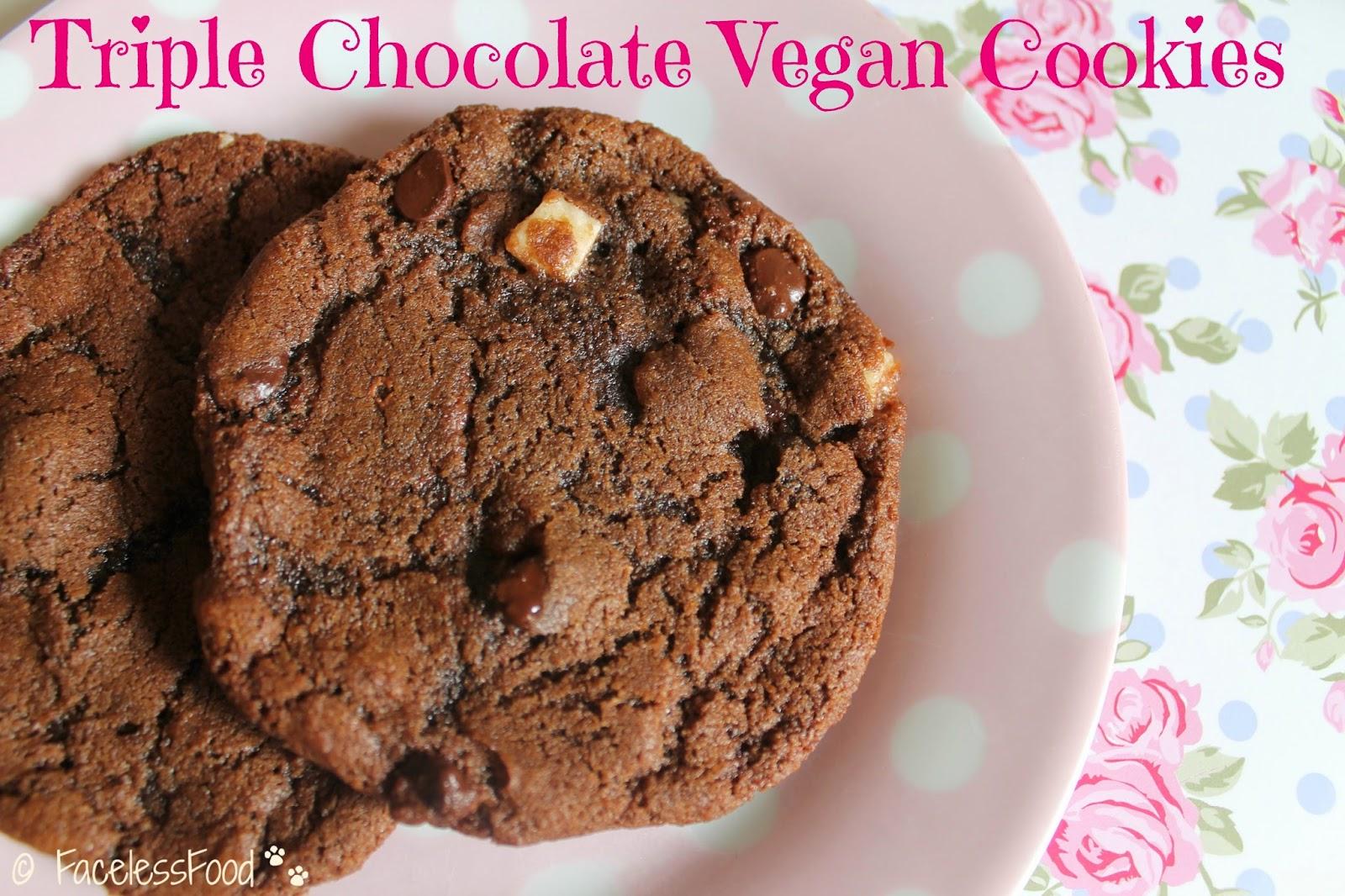 triple chocolate vegan cookies