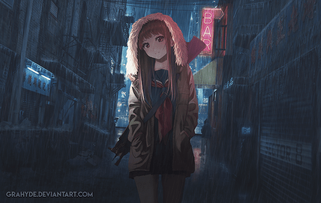 Cyberpunk - Anime Girl Wallpaper