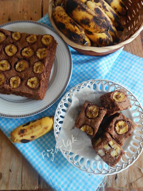 Resepi Kek Pisang Coklat Almond Simple