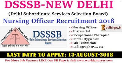 DSSSB Nursing Officer Recruitment 2018