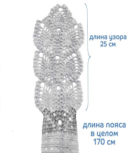 """Ананасовое платье """"Голубая бирюза"""", схема пояса"""