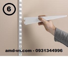Bộ giá kệ treo tường bằng thanh ray và tay đỡ