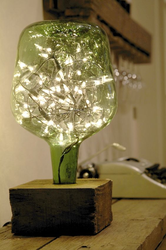 decoração reciclada garrafao luminaria pisca pisca