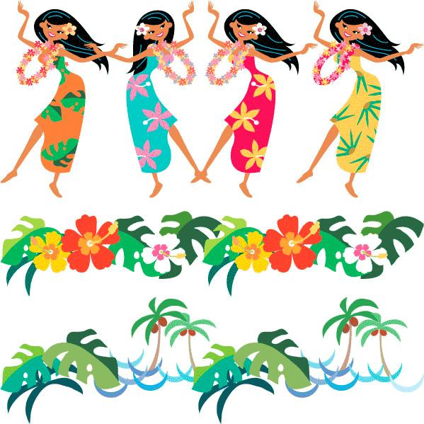 Bailarinas hawaianas - Vector