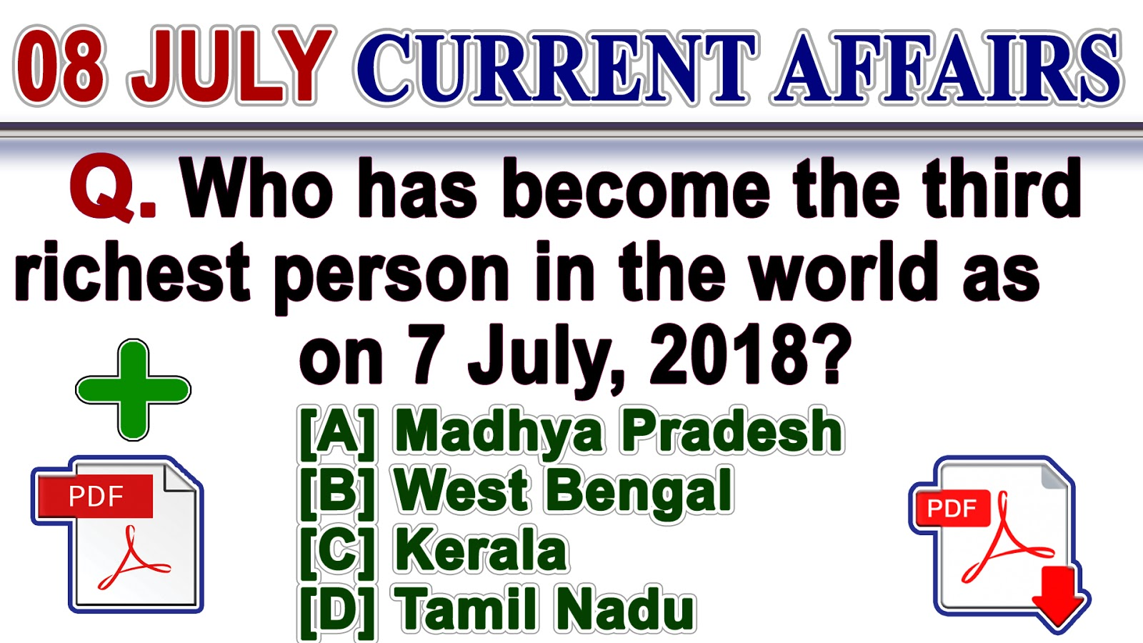 8 July 2018 | Current Affairs Quiz in English