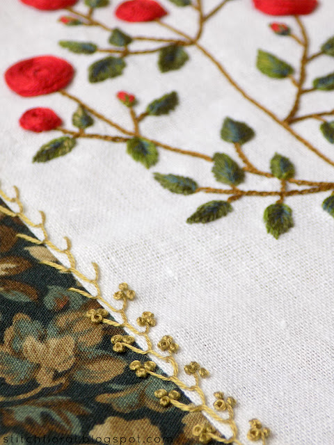 Stitching practice: red roses branch