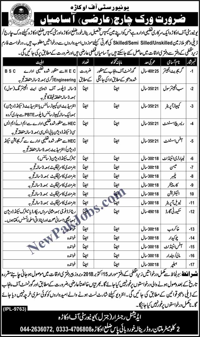 Work Charge Jobs in University of Okara Oct 2018