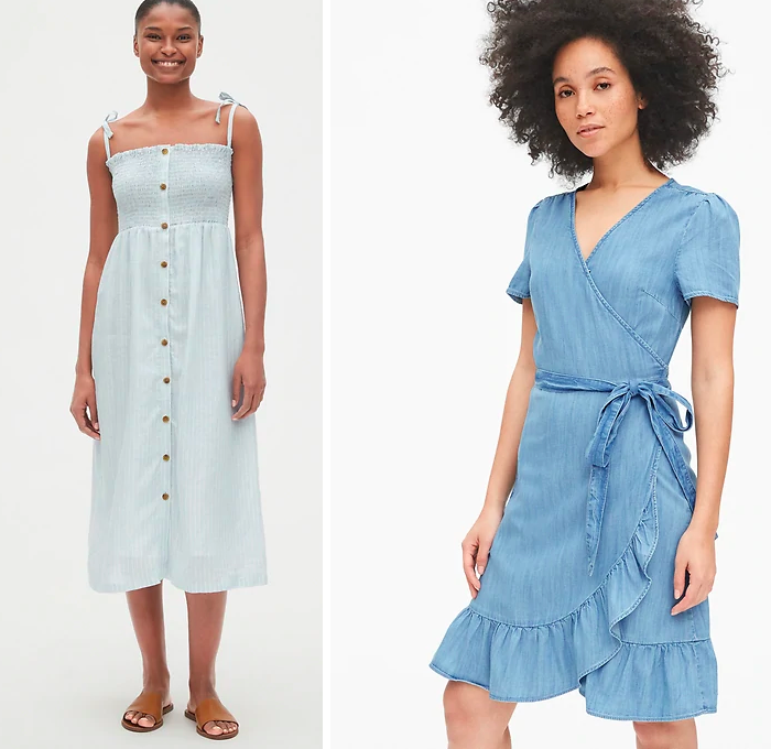 wrap chambray dress, midi smocked button front dress gap