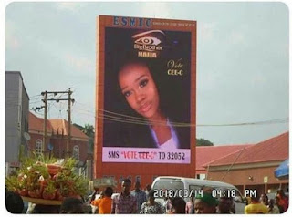 BBNaija: Cee-C's Fans Erect Massive Billboard On The Street For Campaign (Photo)