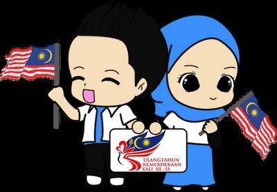 Jalur Gemilang Gambar Kartun Pegang Bendera Malaysia