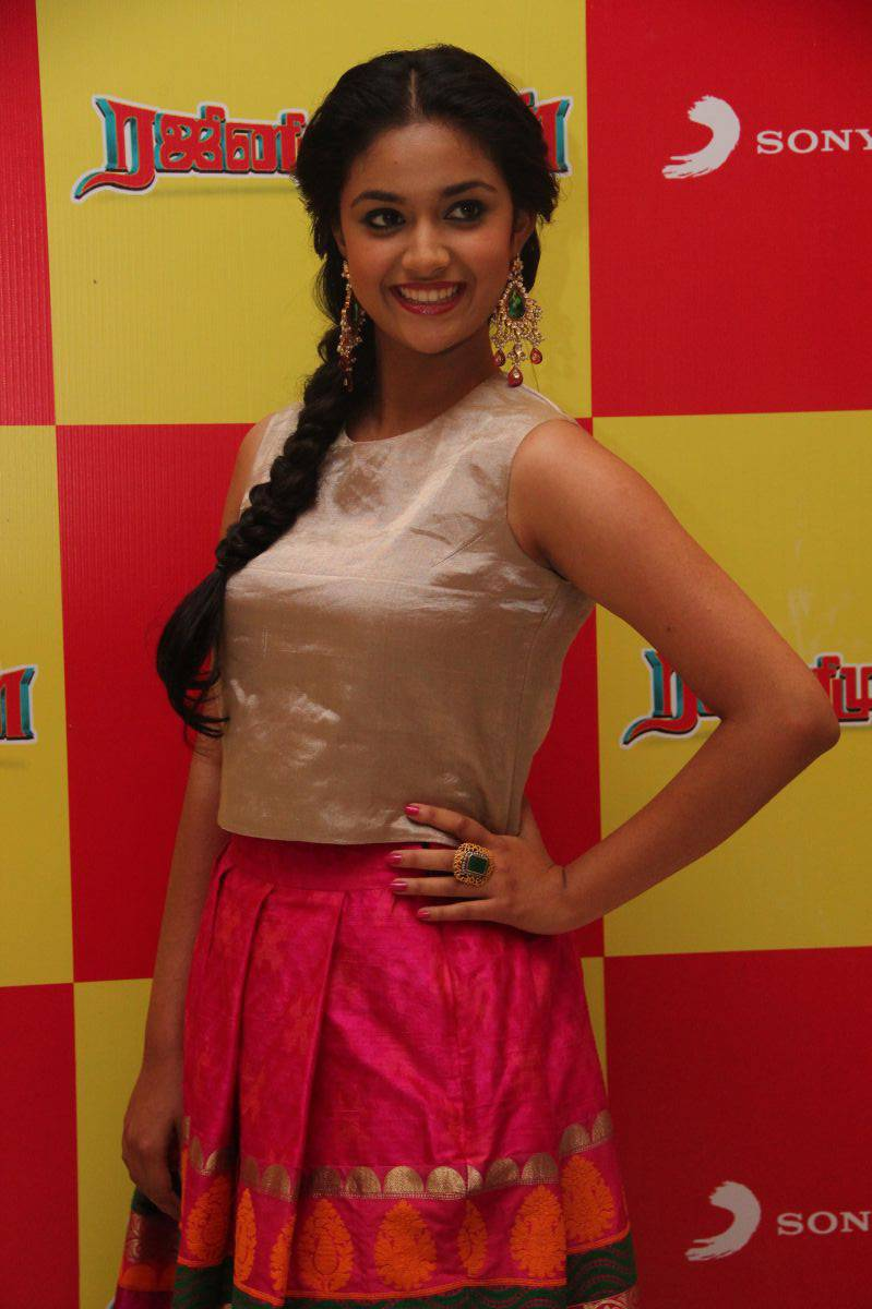 Keerthy Suresh Smiling Photos At Audio Launch In Pink Dress