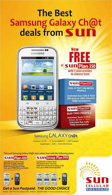 Sun Cellular Postpaid Samsung Galaxy Ch@t deals now Available Free at Sun Plan 350