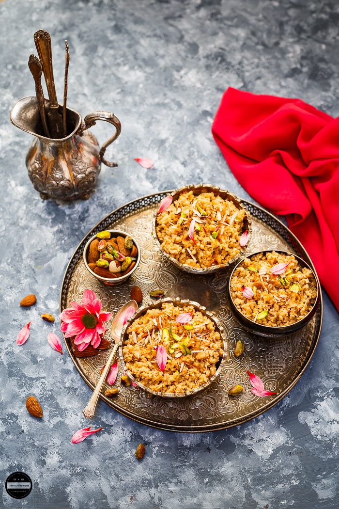 Caramel Fada Lapsi, A dessert prepared with broken wheat or cracked wheat, ghee, and caramel which is utterly delicious.