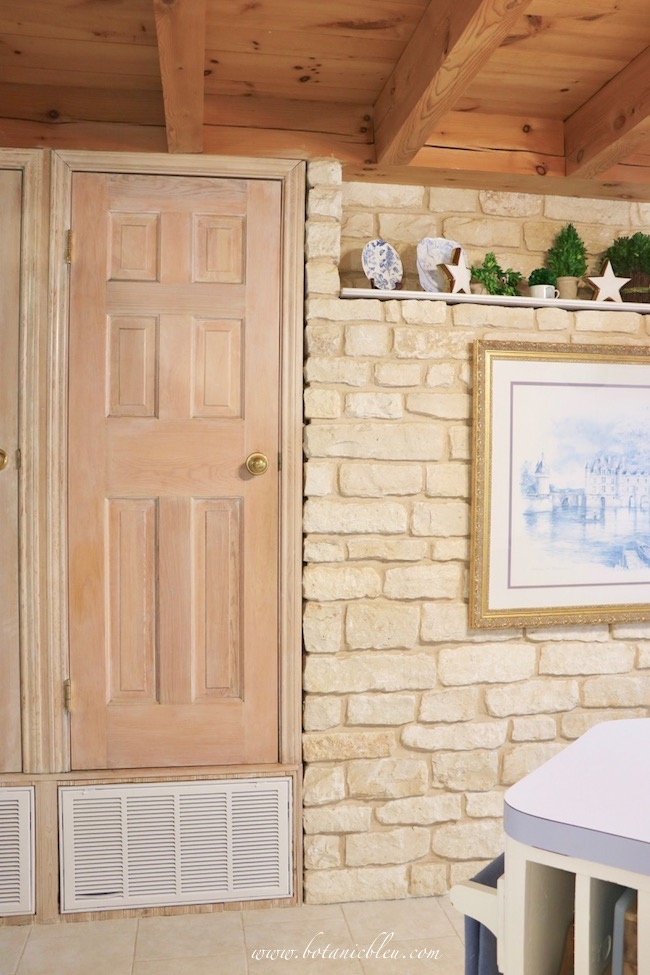 Pantry in French Country Kitchen with limestone wall makeover plans