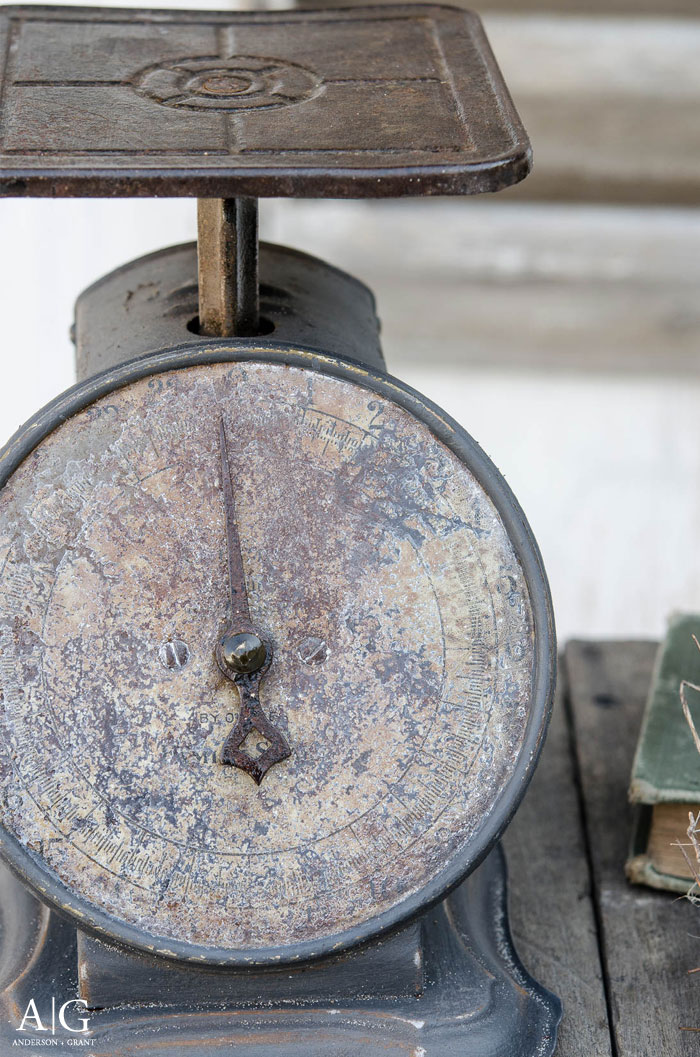 A vintage scale is the perfect accessory in a farmhouse kitchen.  |  www.andersonandgrant.com