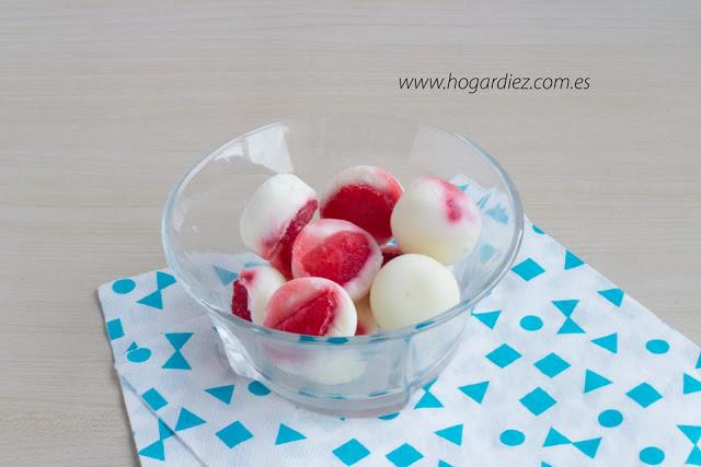 Bombones de yogur con fresas