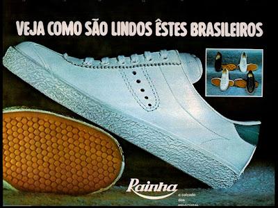 propaganda tênis Rainha - 1972. moda anos 70.