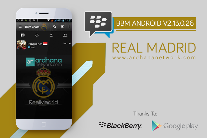 BBM Real Madrid V2.13.0.26 - BBM MOD Android Tema Sepakbola