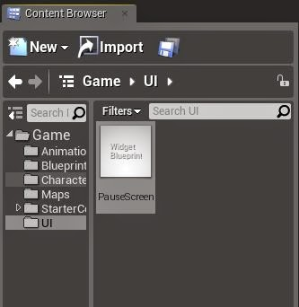 How to create pause screen in ue4 onlinedesignteacher this image shows where you should create widget blueprint malvernweather Gallery