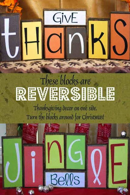 Reversible wood blocks thanksgiving on one side christmas on the