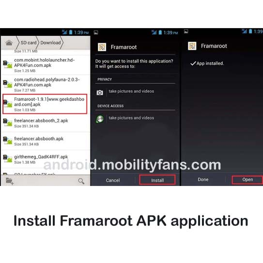 Install Framaroot APK application on your Datawind UbiSlate 3G10