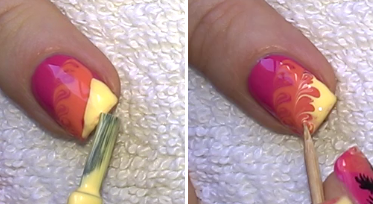 Life world women palm tree nail art with no water needed paint the corner of the nail yellow and mix these colors as well prinsesfo Images