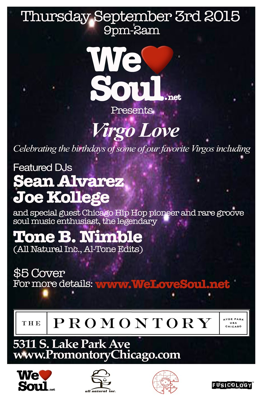 Thursday September 3rd: Virgo Love @ The Promontory