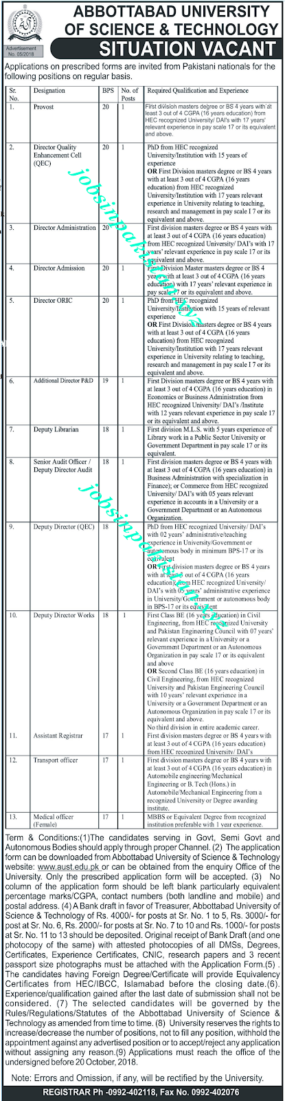 Abbottabad University of Science & Technology Jobs 2018 Advertisement