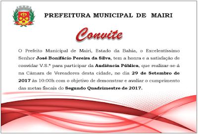 Prefeitura convida população para audiência pública nesta sexta (29)