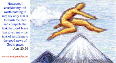 a person jumping over a mountain