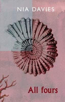 The cover shows a drawing of a fossilised shell from the top down, all in pink, with the top-left corner of the image shown in greyscale. The artwork is by Tamara Dellutri.