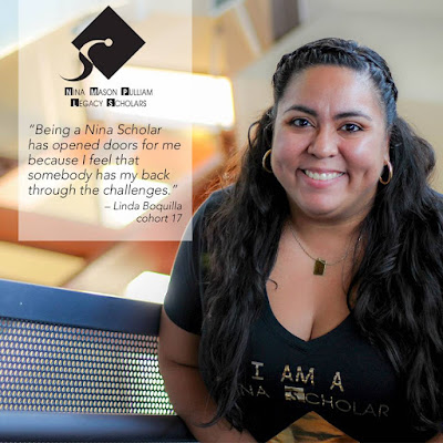 "Photo of Linda Boquilla wearing a ""I am a Nina Scholar"" tee-shirt. Quote keyed into photo: Being a Nina Scholar has opened doors for me because I feel that somebody has my back through the challenges."