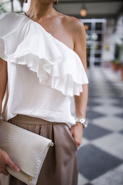 one shoulder ruffles