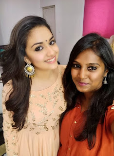 Keerthy Suresh in Pink Dress with Cute and Awesome Lovely Smile with Vavveti Usha Selfie